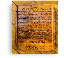 Rustic Wooden Alaska Church Sign Canvas Print