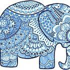 Blue Mandala Elephant by Aimi Devine