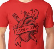 Draw or Die - Black and Red Unisex T-Shirt