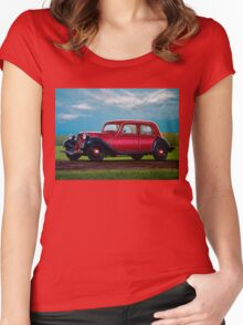 Citroen Traction Avant Painting Women's Fitted Scoop T-Shirt