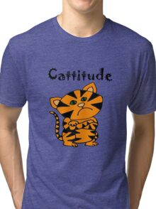 Cool Funny Funky Tiger Cat with Attitude Cartoon Tri-blend T-Shirt