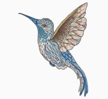 Hummingbird In Golds and Blues Pen and Ink Illustration Kids Tee