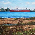 Southampton cargo ship as seen at Weston Shore by martyee