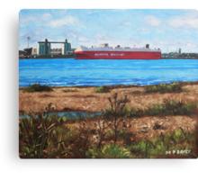 Southampton cargo ship as seen at Weston Shore Canvas Print