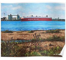 Southampton cargo ship as seen at Weston Shore Poster