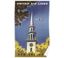 United Air Lines New England Vintage Travel Poster Poster