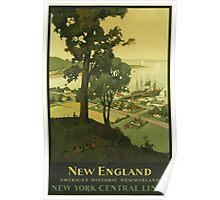 New England Americas Historic Summerland Vintage Travel Poster Poster