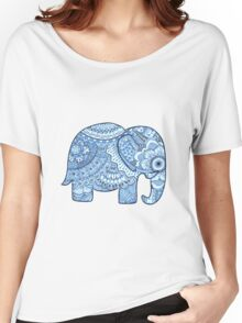 Blue Mandala Elephant Women's Relaxed Fit T-Shirt