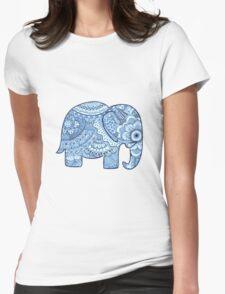 Blue Mandala Elephant Womens Fitted T-Shirt