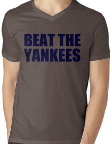 Boston Red Sox - BEAT THE YANKEES - Blue Text Mens V-Neck T-Shirt