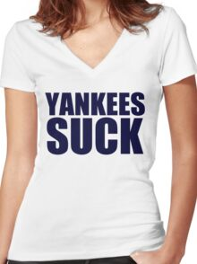 Boston Red Sox - YANKEES SUCK - Blue Text Women's Fitted V-Neck T-Shirt