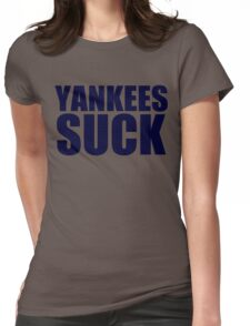 Boston Red Sox - YANKEES SUCK - Blue Text Womens Fitted T-Shirt