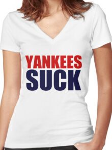 Boston Red Sox - YANKEES SUCK Women's Fitted V-Neck T-Shirt