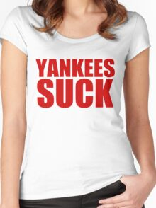 Boston Red Sox - YANKEES SUCK - red text Women's Fitted Scoop T-Shirt