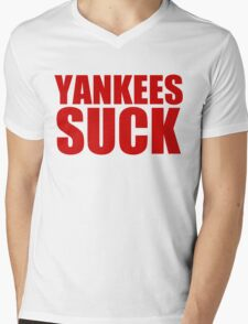 Boston Red Sox - YANKEES SUCK - red text Mens V-Neck T-Shirt