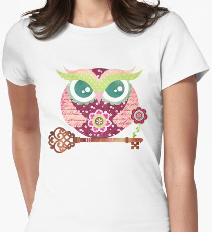 Spring Blossom Owl Womens Fitted T-Shirt