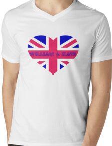 William & Kate Crown T shirt Mens V-Neck T-Shirt