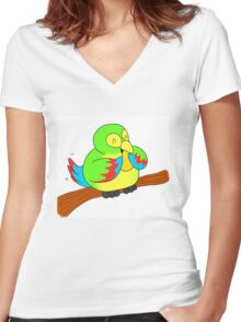 A Green Parrot and a Mango Women's Fitted V-Neck T-Shirt
