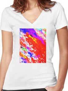 Glitchin' Red Women's Fitted V-Neck T-Shirt