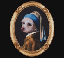 The Dog With the Pearl Earring (Gold Frame) Kids Tee