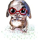 Watercolour Bunny with Glasses by Tristan Klein