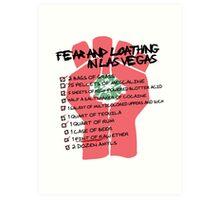 Fear and Loathing in Las Vegas checklist Art Print