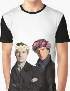 BBC Sherlock- Sherlock and John Flower Crowns  Graphic T-Shirt