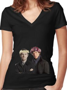 BBC Sherlock- Sherlock and John Flower Crowns  Women's Fitted V-Neck T-Shirt