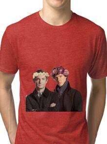 BBC Sherlock- Sherlock and John Flower Crowns  Tri-blend T-Shirt