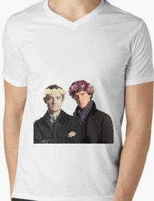 BBC Sherlock- Sherlock and John Flower Crowns  Mens V-Neck T-Shirt
