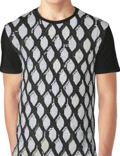 Black and Light Blue Geometric Pattern Graphic T-Shirt