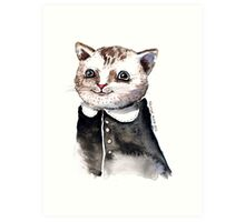 Watercolour Cat in dress Art Print
