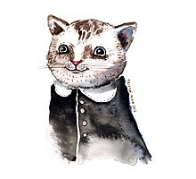 Watercolour Cat in dress Photographic Print