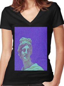 Screen Lines Statue Women's Fitted V-Neck T-Shirt