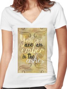 an ember in the ashes Women's Fitted V-Neck T-Shirt