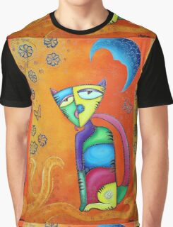 Sunkist Celestial Cat Graphic T-Shirt