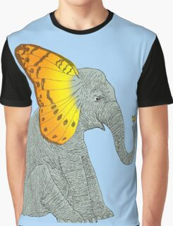 Elephant and Butterfly Graphic T-Shirt