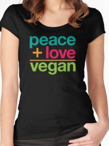 peace + love = vegan Women's Fitted Scoop T-Shirt