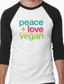 peace + love = vegan Men's Baseball ¾ T-Shirt