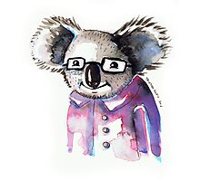 Watercolour Koala with Glasses Photographic Print