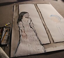 First large scale painting - in progress 1 by Ina Mar