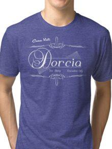 Come Visit Dorcia - Dark Tri-blend T-Shirt