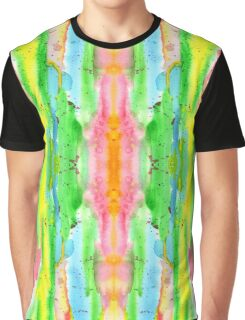 Hand-Painted Abstract Watercolor in Bright Rainbow Hues Graphic T-Shirt