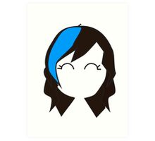 Blue Streak Hair Art Print