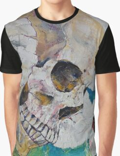 Skull with White Poppies Graphic T-Shirt