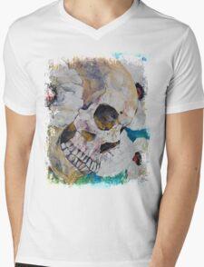 Skull with White Poppies Mens V-Neck T-Shirt