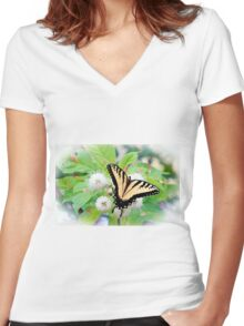 Eastern Tiger Swallowtail Women's Fitted V-Neck T-Shirt