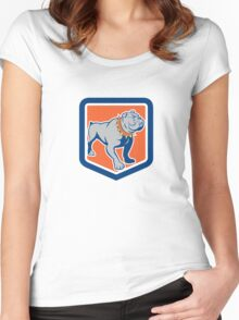 Angry Bulldog Standing Shield Cartoon Women's Fitted Scoop T-Shirt