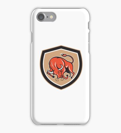 Angry Bull Charging Shield Cartoon iPhone Case/Skin