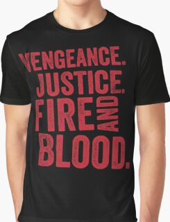 Vengeance Justice Fire and Blood Graphic T-Shirt